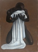 Black Art Pastels Framed Prints - Private Passion Framed Print by L Cooper