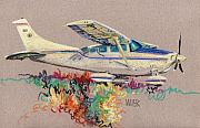 Plane Drawings Prints - Private Plane Print by Donald Maier