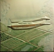 Landscapes Ceramics - Private Plane flying in California by Linda Andrews