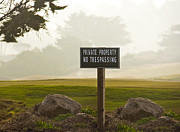 Foggy Day Prints - Private Property No Trespassing Sign Print by David Buffington