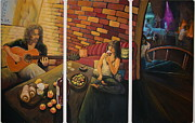 Acoustic Guitar Painting Originals - Private Room  by Martha Bennett