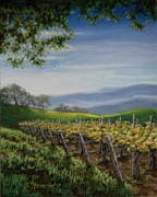 Grapevines Pastels Posters - Private Selection Poster by Denise Horne-Kaplan