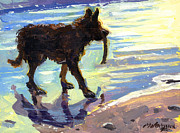 Dog With Stick Paintings - Prized Stick by Michael Jacques