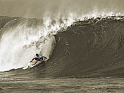 Surfer Photos - Pro Surfer Julian Wilson Surfing in the Pipeline Masters Contest by Paul Topp