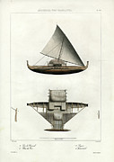 Nautical Print Drawings - Proa of Satawal Archipel Des Carolines by Dumont d Urville