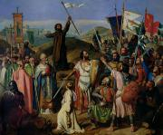 Priests Paintings - Procession of Crusaders around Jerusalem by Jean Victor Schnetz