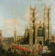 Gothic Architecture Posters - Procession of the Knights of the Bath Poster by Canaletto