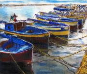 Harbor Pastels - Procida Fishing Boats End of The Day by Randy Sprout
