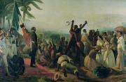 Human Rights Painting Prints - Proclamation of the Abolition of Slavery in the French Colonies Print by Francois Auguste Biard