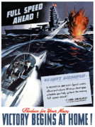 War Propaganda Digital Art Metal Prints - Produce For Your Navy Metal Print by War Is Hell Store