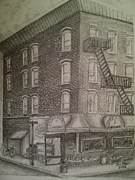 Produce Drawings Originals - Produce market in Brooklyn by Irving Starr