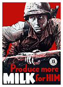 Wwii Propaganda Framed Prints - Produce More Milk For Him Framed Print by War Is Hell Store