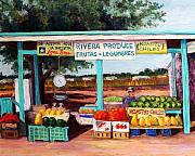 Vegetables Pastels Posters - Produce Stand Poster by Candy Mayer
