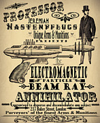 Victorian Digital Art Metal Prints - Professor H and his Ray Gun Metal Print by Cinema Photography