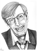 Pencil Drawing Framed Prints - Professor Stephen W. Hawking Framed Print by Murphy Elliott