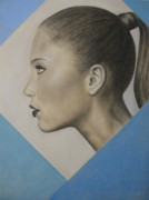 Ponytail Pastels Prints - Profile Print by Lynet McDonald