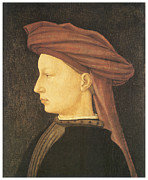 Young Man Framed Prints - Profile of a Young Man Framed Print by Tommaso Masaccio
