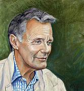 Actor Pastels Posters - Profile of British actor Simon Williams  Poster by Melanie Bourne