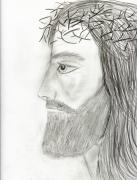 Jesus Drawings Prints - Profile of Jesus Print by Sonya Chalmers