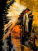 Native American Painting Metal Prints - Profile of Pride Metal Print by Paul Sachtleben