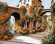 Red Flowers Painting Posters - Profumi Di Paese Poster by Guido Borelli