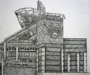 Cleveland Indians Drawings - Progressive Field by Juliana Dube