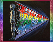 Metaphysical Paintings - Projection with Rainbow Scroll Border by Joyce Jackson