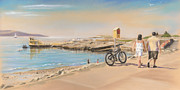 Irish Artists Framed Prints - Promenade at Salthill Galway Framed Print by Vanda Luddy