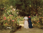 Gardening Paintings - Promenade by Constant-Emile Troyon