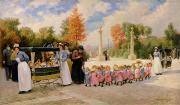 Nursery Paintings - Promenade des Enfants  by Timoleon Marie Lobrichon