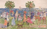 Parasols Paintings - Promenade by Maurice Brazil Prendergast