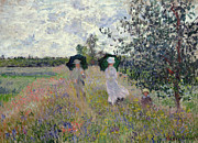 Walking Painting Framed Prints - Promenade near Argenteuil Framed Print by Claude Monet