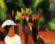 Macke Framed Prints - Promenade with white girl Framed Print by Stefan Kuhn