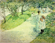 Daughters Painting Prints - Promenaders in the garden Print by Childe Hassam