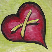 Cross Painting Originals - Promise    Cross my Heart by Sandy Tracey