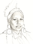 Native Chief Drawings - Promise by Robert Martinez