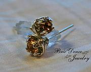 Sterling Silver Earring Jewelry - Prong Posts in Light Topaz by Brittney Brownell