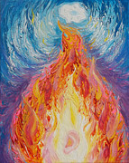 Noah Paintings - Prophetic Message Sketch 16 Listen to the Benevolent Flame Look for the Promise  by Anne Cameron Cutri