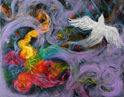 Anne Cameron Cutri Art - Prophetic Message Sketch Painting 10 Divine Pattern Dove by Anne Cameron Cutri