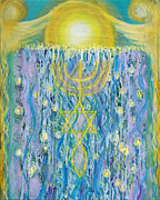 Anne Cameron Cutri Metal Prints - Prophetic Message Sketch Painting 26 Elohim Elohim Latter Rain Metal Print by Anne Cameron Cutri