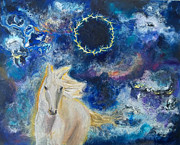 Galaxies Originals - Prophetic Message Sketch Painting 6 Ring of Lightning White Horse by Anne Cameron Cutri