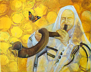 Trumpets Paintings - Prophetic Message Sketch Painting 9 Honey Dripping from the Shofar by Anne Cameron Cutri