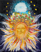 New Testament Painting Originals - Prophetic Message Sketch Painting1 Jesus Christ with Blossoming Crown Lion of Judah by Anne Cameron Cutri