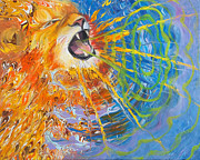 Jewish Paintings - Prophetic Sketch Painting 25 Lion of Judah awakens with a ROAR by Anne Cameron Cutri