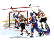 Philadelphia Flyers Framed Prints - Propp Scores 1987 Stanley Cup Finals Game 6 Framed Print by David E Wilkinson
