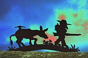 Donkey Digital Art Metal Prints - Prospectors Silhouette Metal Print by Richard Henne