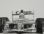 Williams Drawings Prints - Prost and Williams 1993 Print by Terry Gill