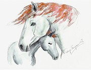 Mare Drawings - Protected by Tarja Stegars