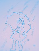 Umbrella Drawings Framed Prints - Protection Framed Print by Charon Rothmiller