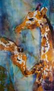 Blue Giraffes Mixed Media - Protection by Trish McKinney